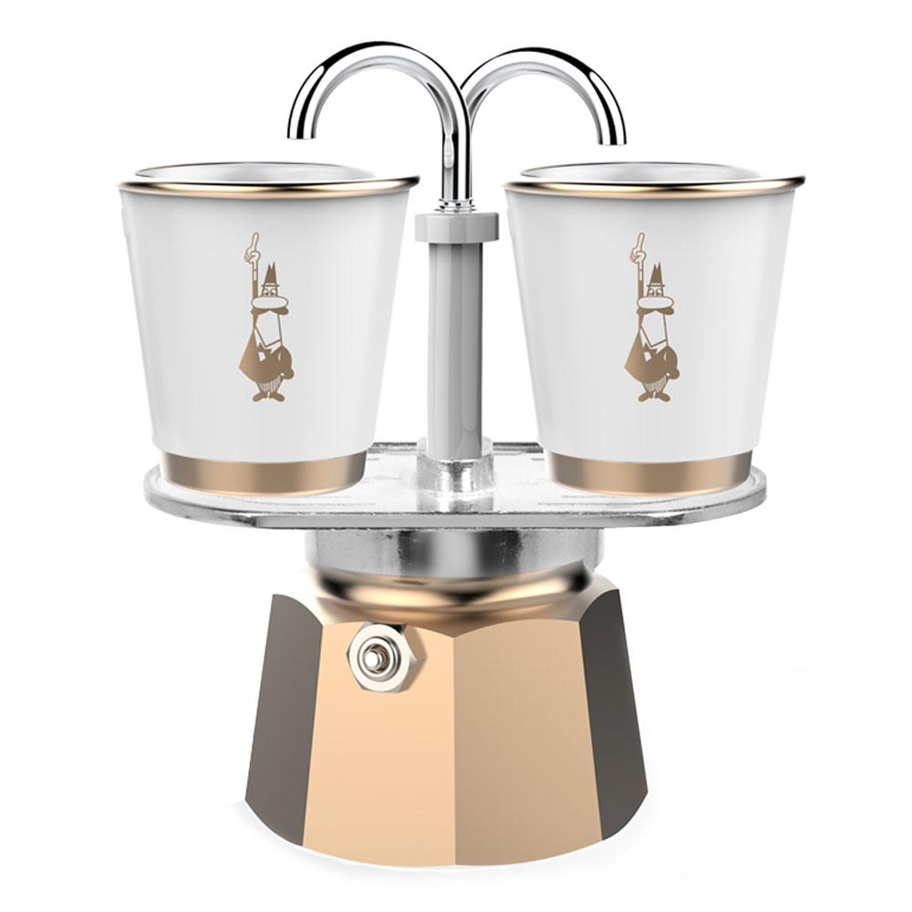 Гейзерная кофеварка Mini Express Gold с 2 стаканами в официальном интернет-магазине Bialetti